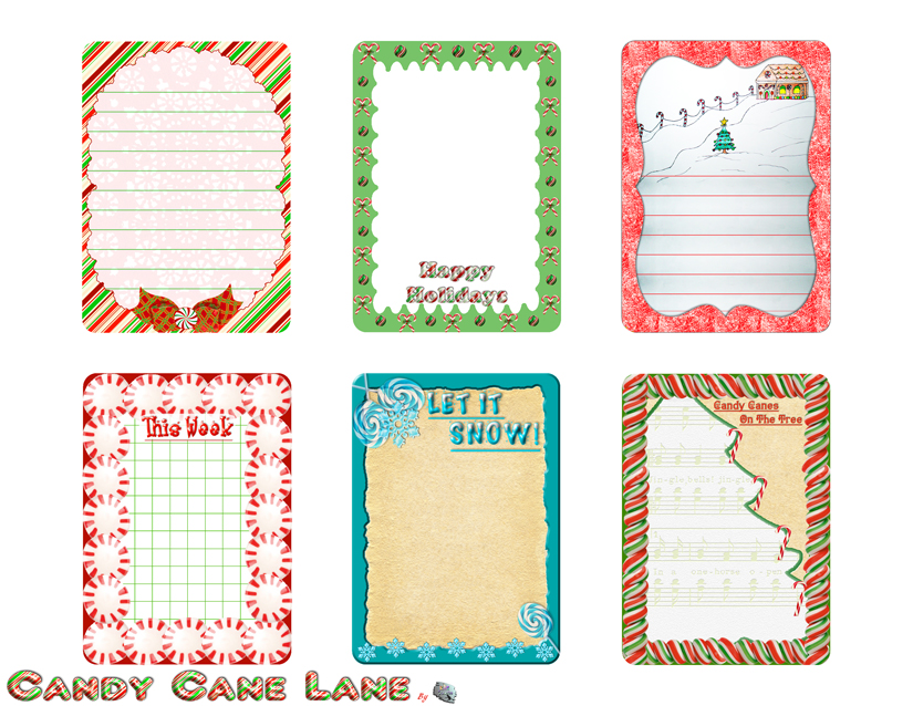 Candy Cane Lane Journal Cards