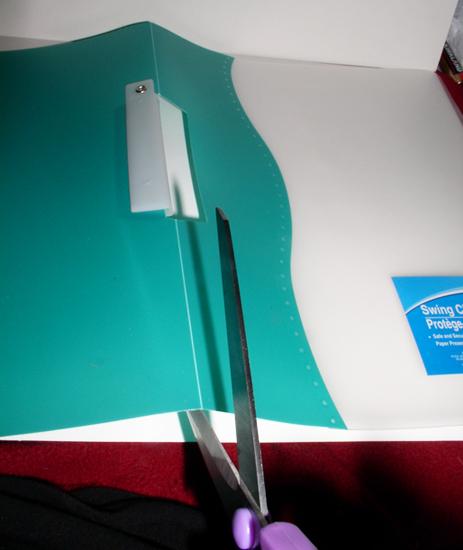 Step 1 - Cut green folder in half